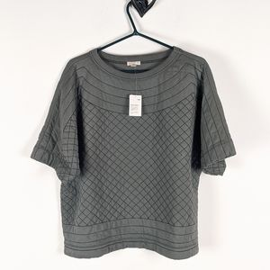 Nwt Gap Gray Quilted Short Sleeve Sweater XL